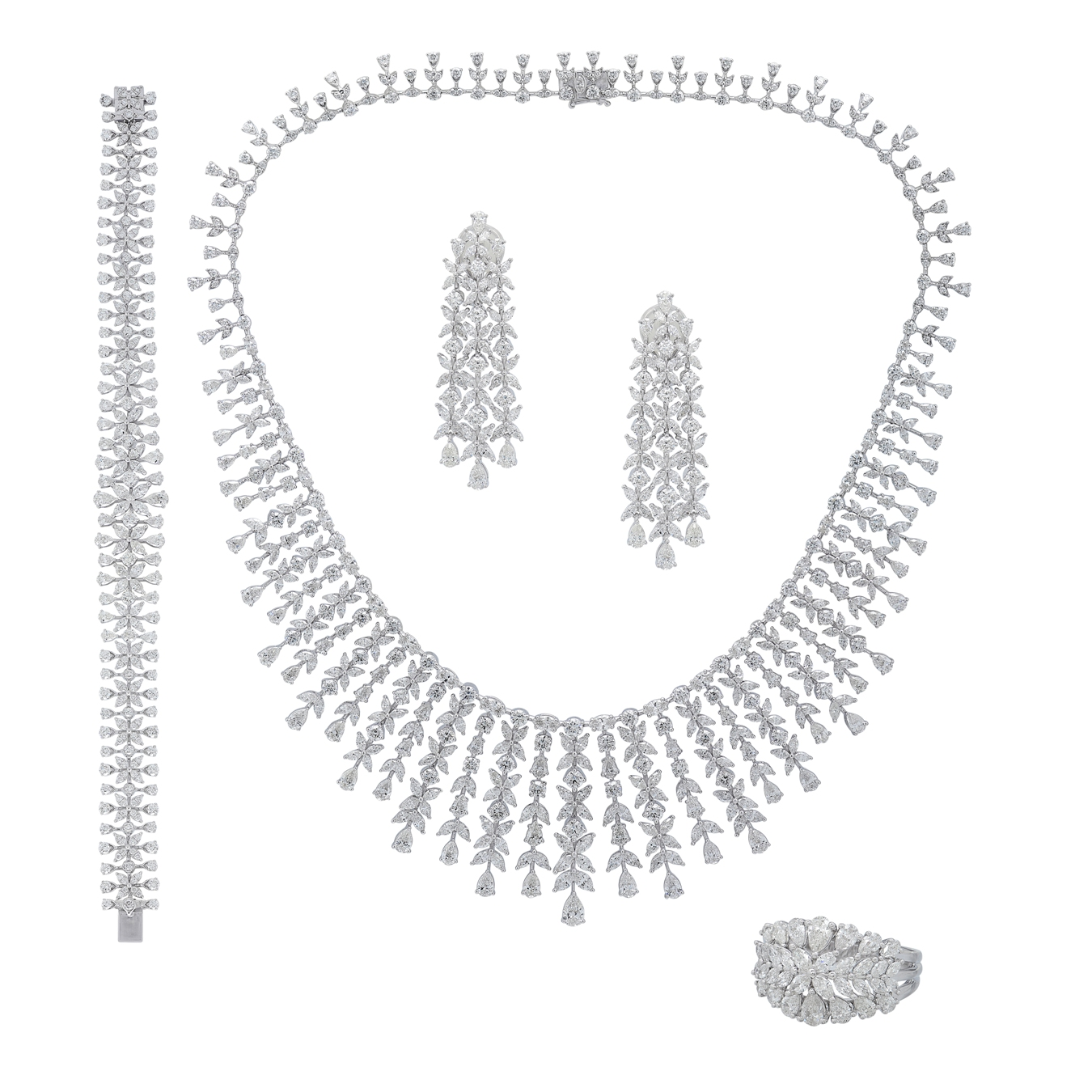 Fringed Diamond Necklace Set